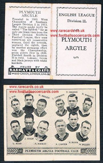 1934 Barratt English League Div 2 folder Plymouth Argyll